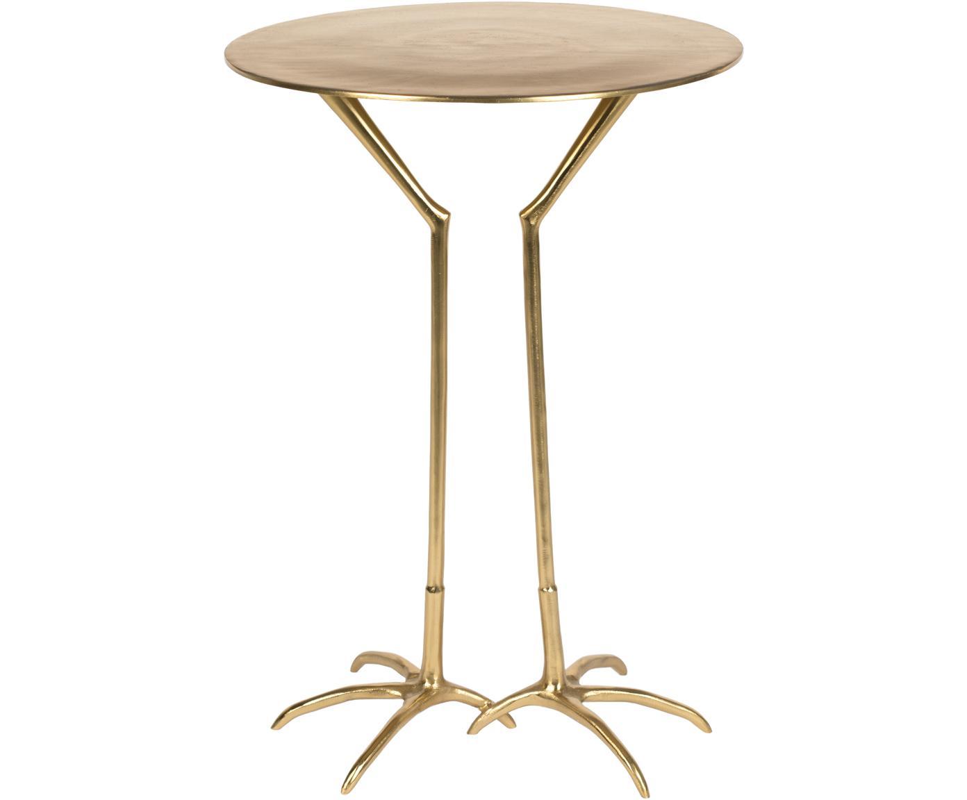 Tavolino rotondo dorato Theen Heron, Poliresina, verniciato, Ottonato, Ø 45 x Alt. 55 cm