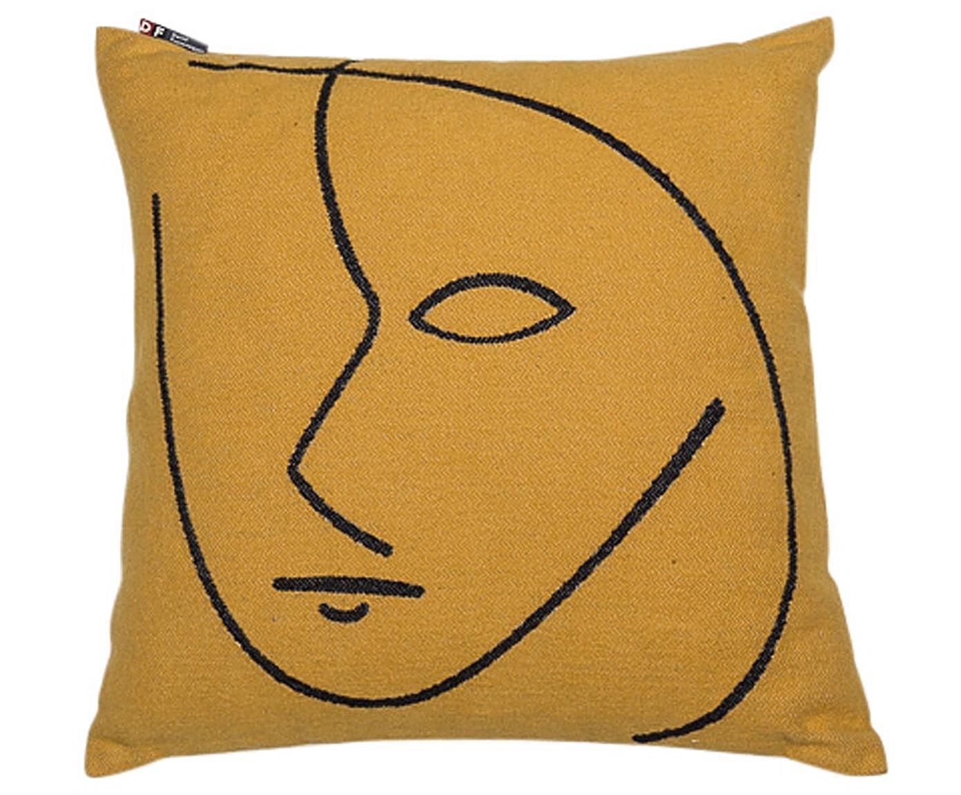 Kissen Nova Face mit abstracktem Print, mit Inlett, Bezug: 85% Baumwolle, 8% Viskose, Gelb, Schwarz, 50 x 50 cm