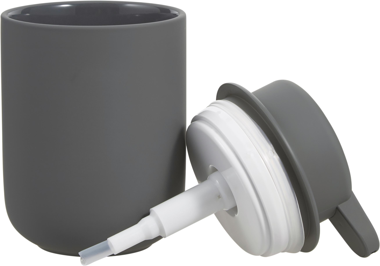 Seifenspender Ume aus Steingut, Behälter: Steingut überzogen mit So, Grau, matt, Ø 8 x H 13 cm