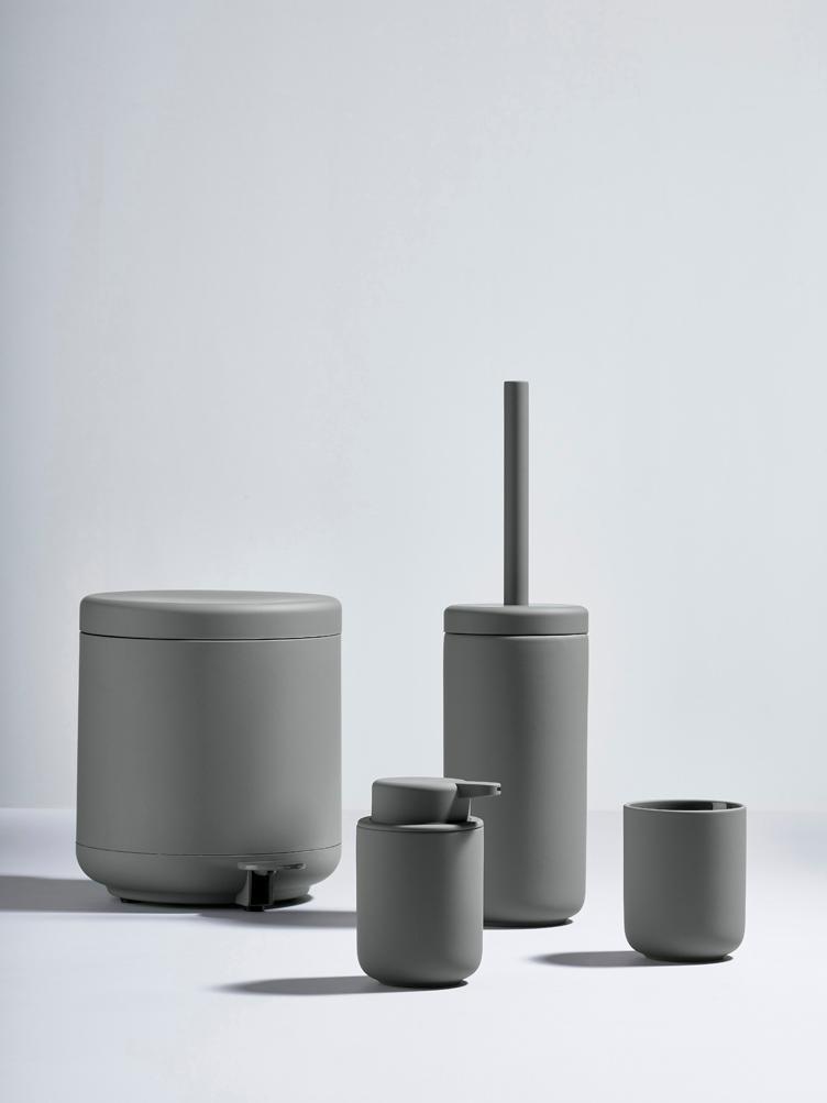 Dispenser sapone in terracotta Ume, Contenitore: terracotta rivestita con , Grigio opaco, Ø 8 x Alt. 13 cm