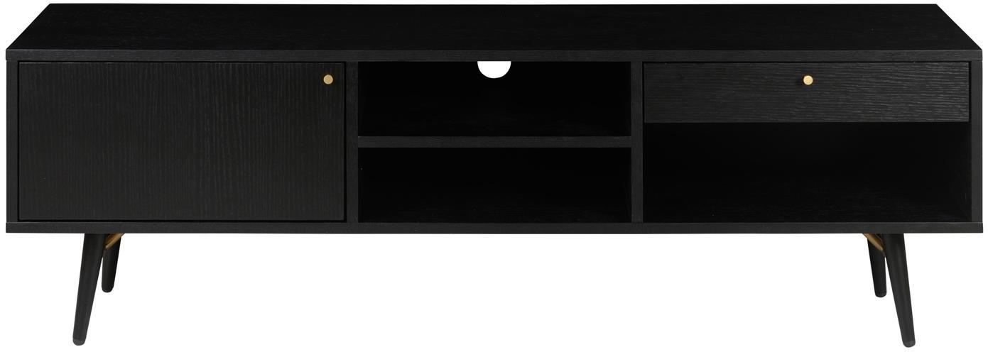 Zwart tv-meubel Verona, Frame: gelakt MDF met eikenhoutf, Poten: gepoedercoat metaal, Zwart, 117 x 50 cm