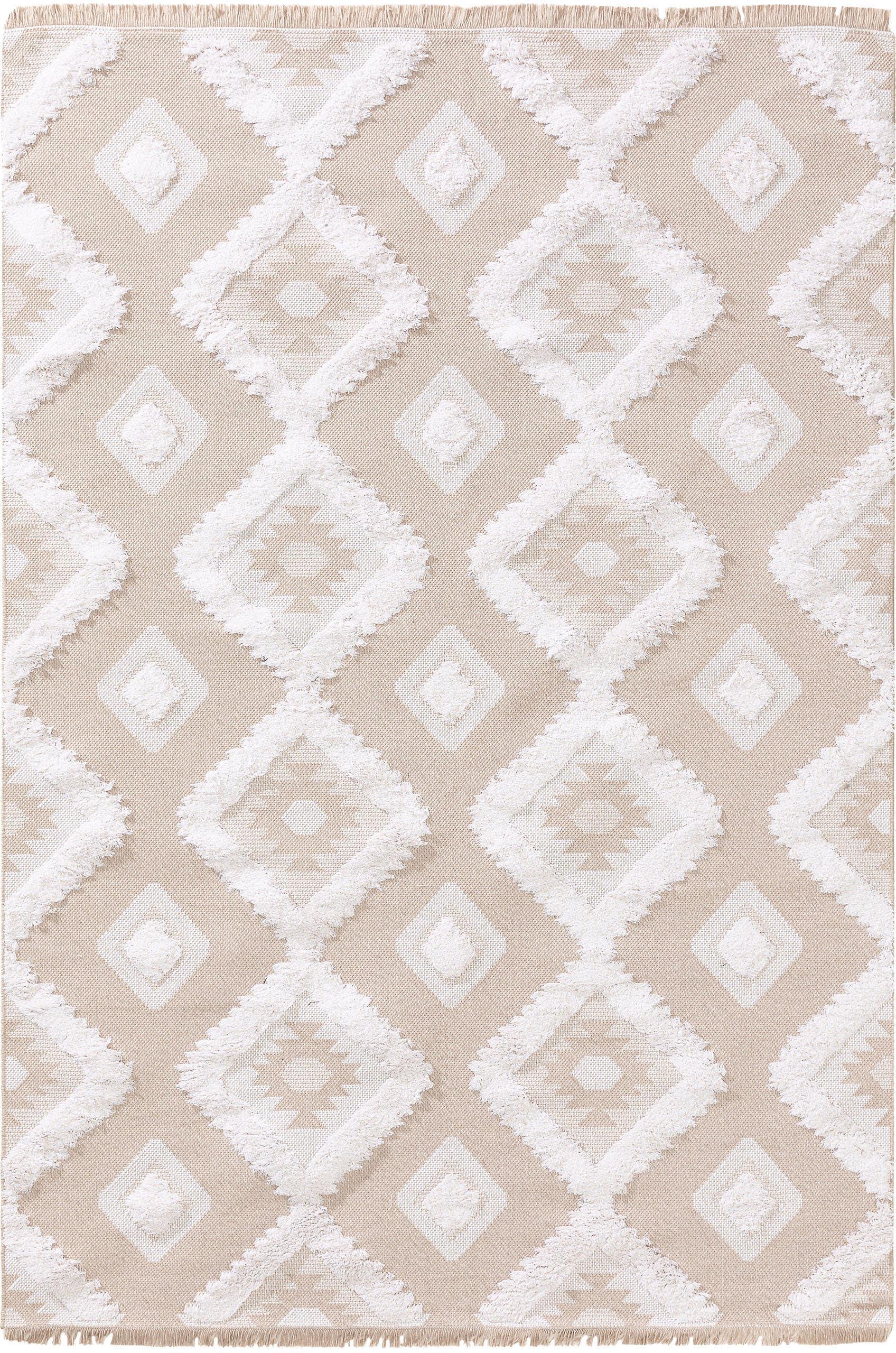 Waschbarer Baumwollteppich Oslo Squares mit Hoch-Tief-Strukturmuster, 100% Baumwolle, Cremeweiß, Beige, B 190 x L 280 cm (Größe M)
