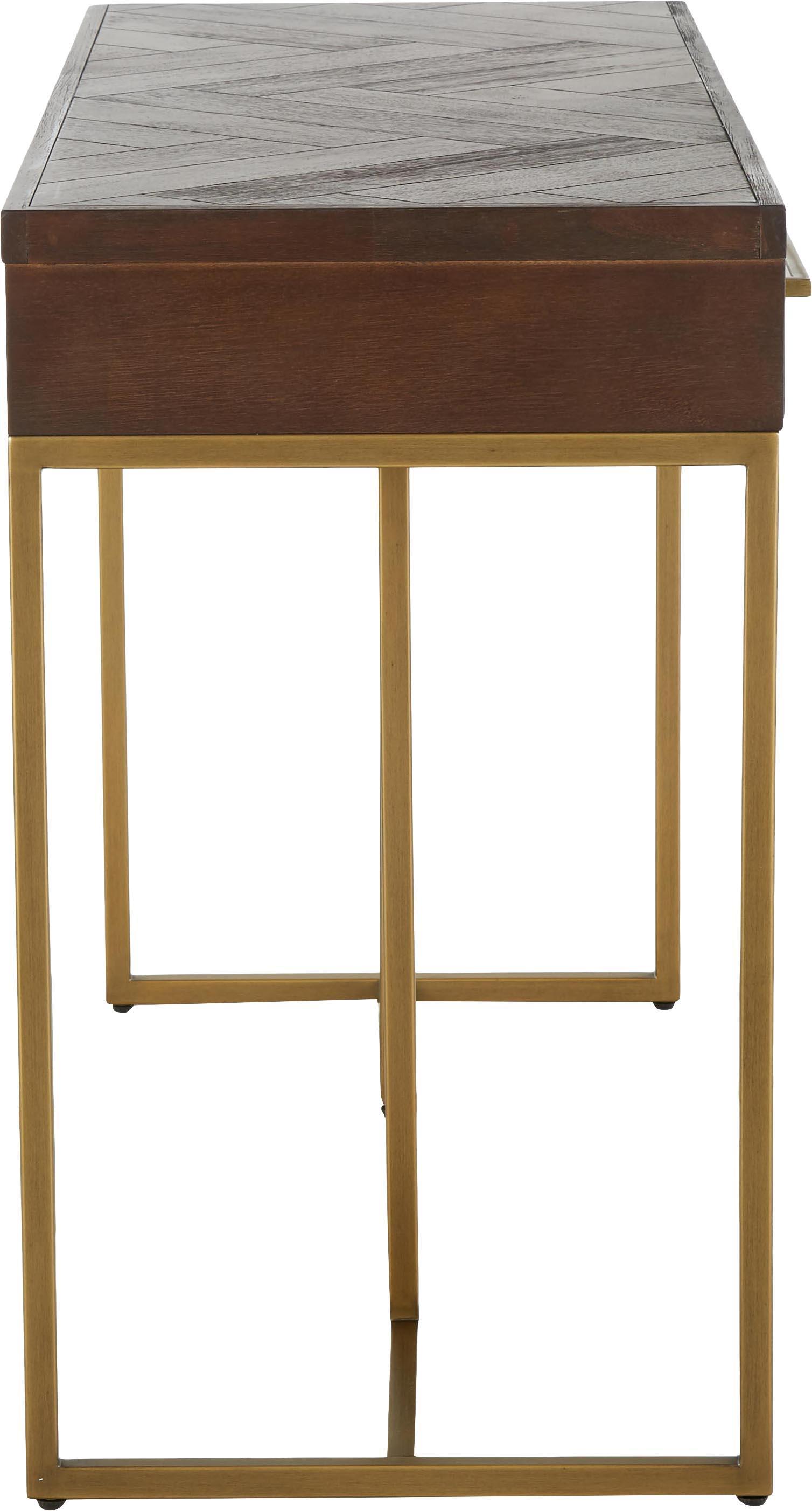 Visgraat sidetable Class met acaciahoutfineer, Frame: MDF, acaciahoutfineer, Acaciahoutkleurig, messingkleurig, B 120 x D 45 cm