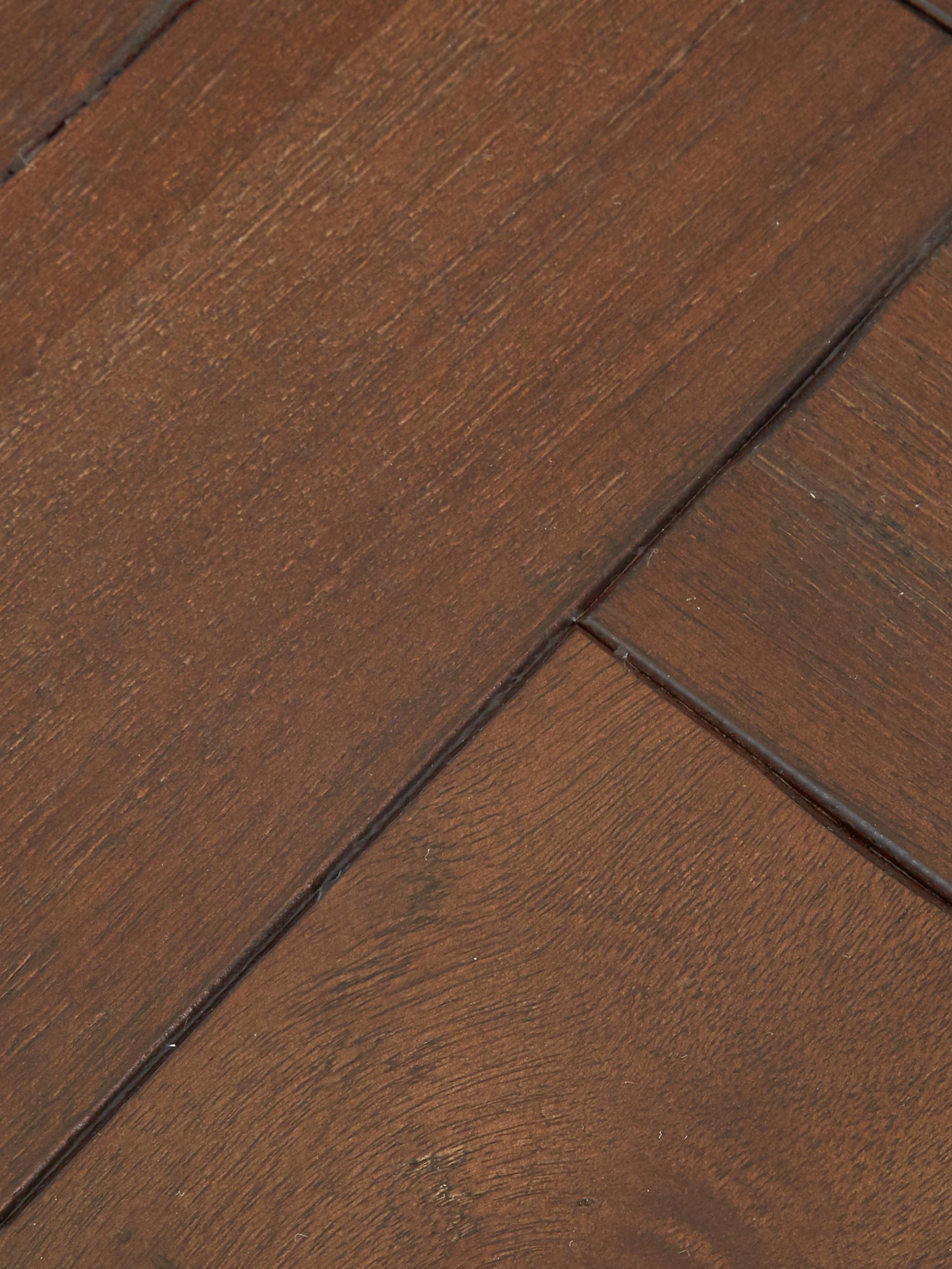Fischgrät-Konsole Class mit Akazienholzfurnier, Korpus: Mitteldichte Holzfaserpla, Akazienholz, Messingfarben , B 120 x T 45 cm