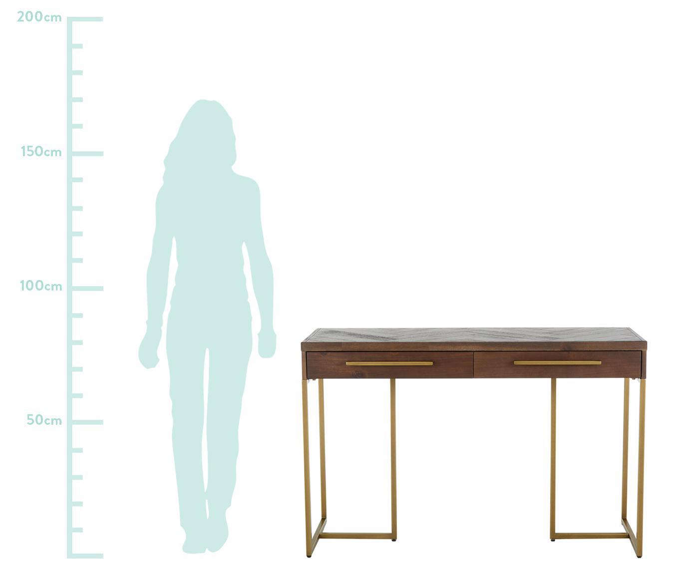 Konsola w jodełkę Class, Korpus: średniej gęstości płyta p, Drewno akacjowe, odcienie mosiądzu, S 120 x G 80 cm