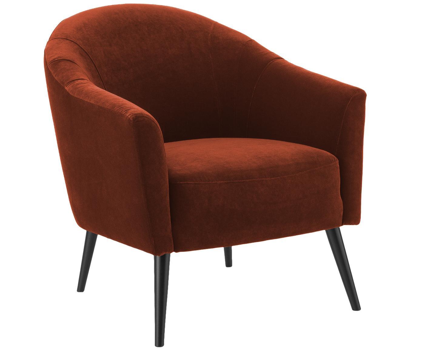 Fotel z aksamitu Pascall, Tapicerka: aksamit (100% poliester), Nogi: drewno bukowe, lakierowan, Rudy, S 75 x G 86 cm