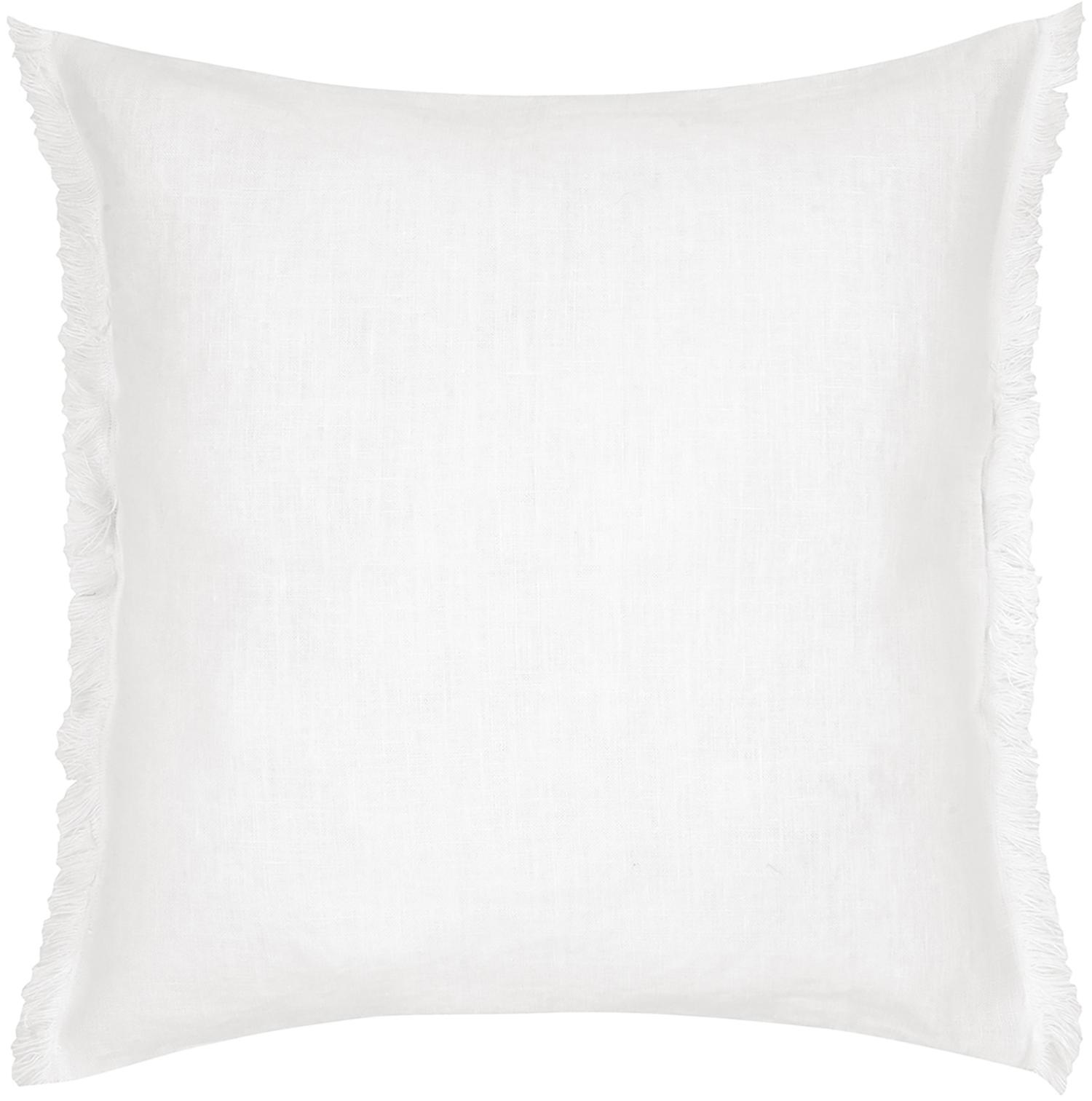 Funda de cojín de lino con flecos Luana, Lino, Blanco crema, An 40 x L 40 cm