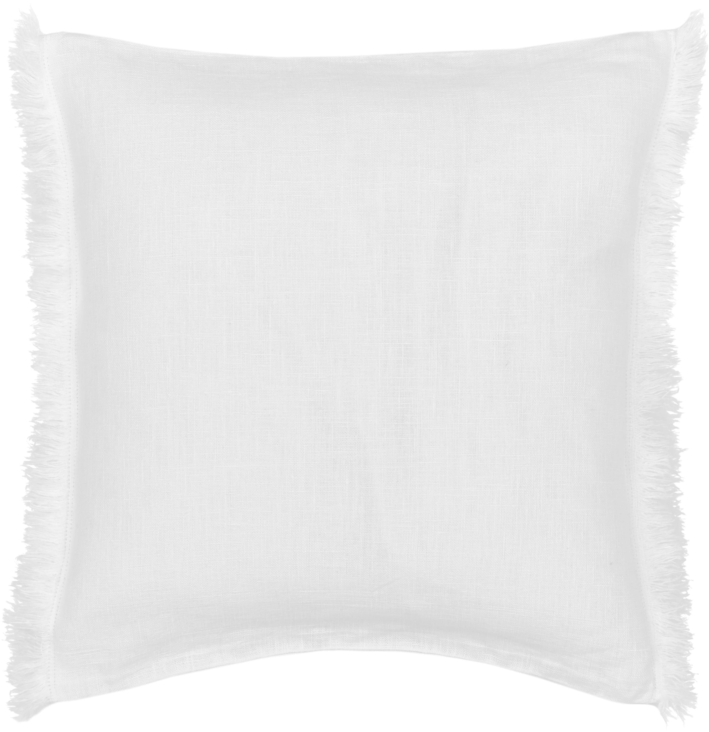 Funda de cojín de lino con flecos Luana, 100%lino, Blanco crema, An 40 x L 40 cm