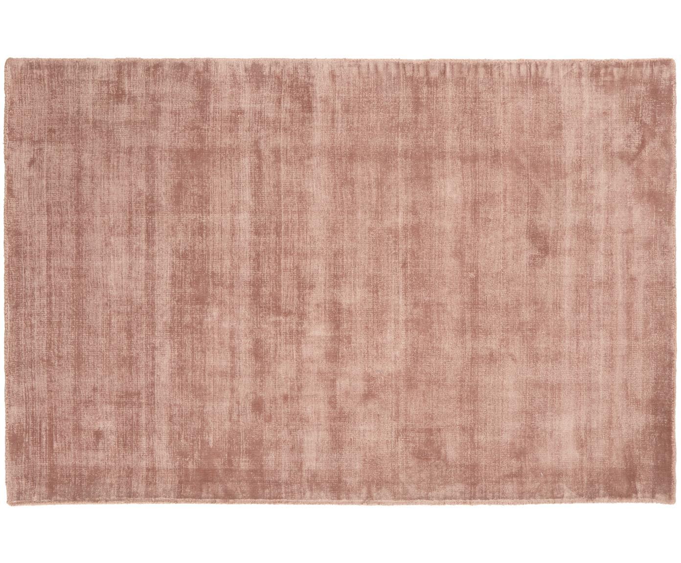 Handgeweven viscose vloerkleed Jane, Bovenzijde: 100% viscose, Onderzijde: 100% katoen, Terracotta, B 120 x L 180 cm (maat S)