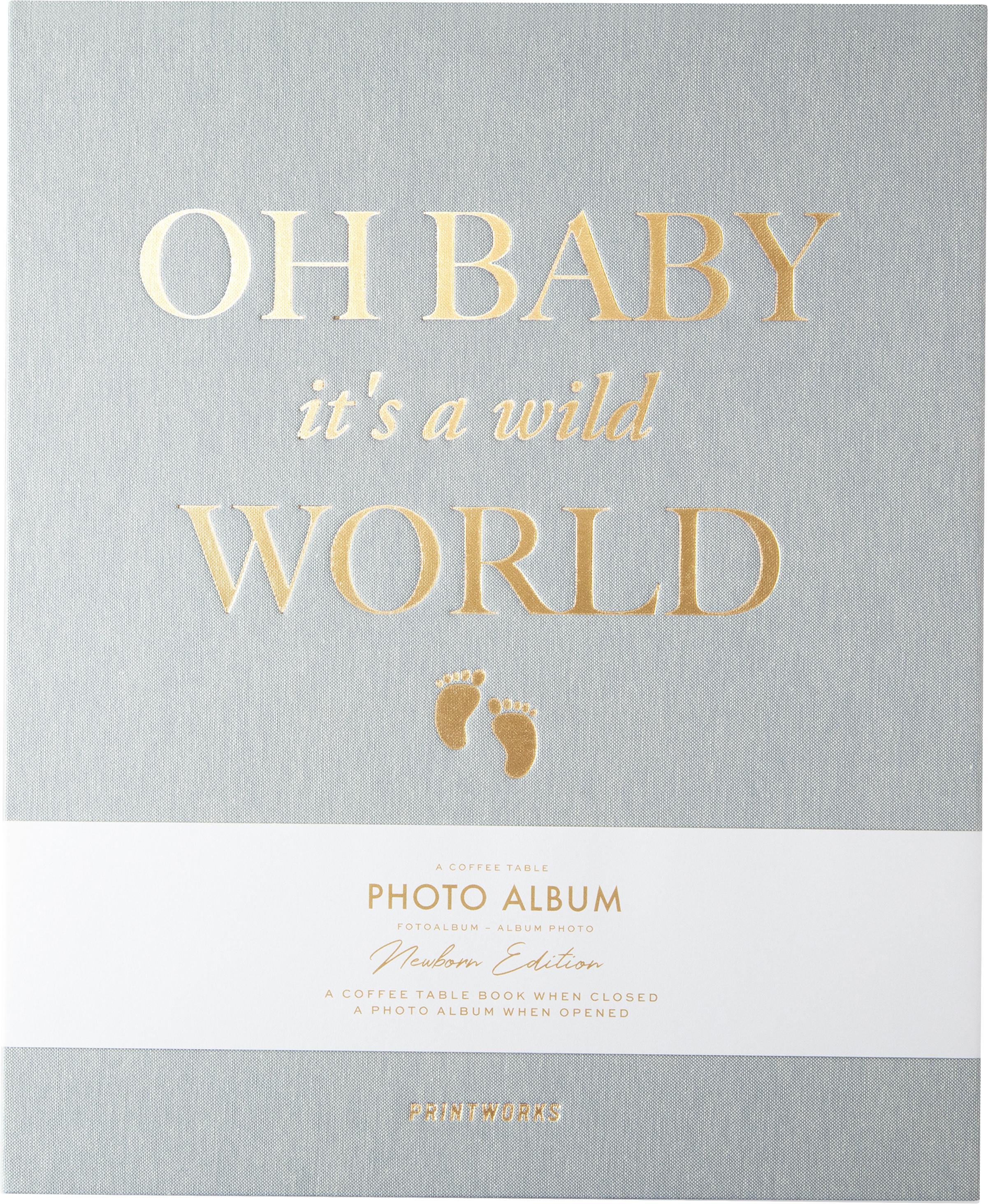 Fotoalbum Baby It's A Wild World, Graublau, Goldfarben, 26 x 32 cm
