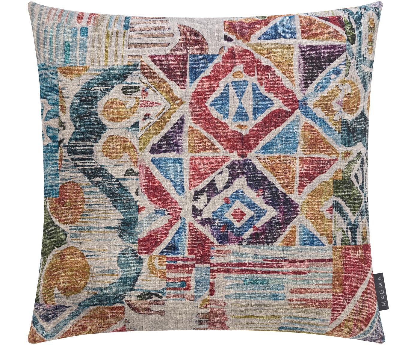 Samt-Kissenhülle Cosima mit buntem Ethno-Muster, 100% Polyestersamt, Weinrot, Mehrfarbig, 50 x 50 cm