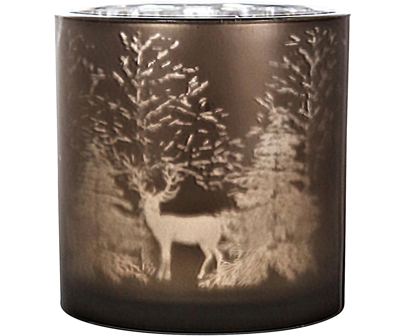 Windlicht Magic, Glas, Braun, Silberfarben, Ø 15 x H 15 cm