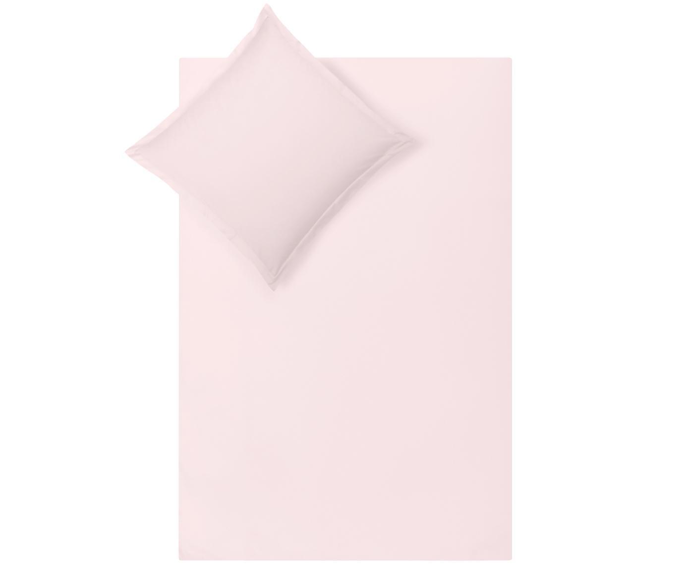 Pościel z satyny bawełnianej Premium, Blady różowy, 240 x 220 cm
