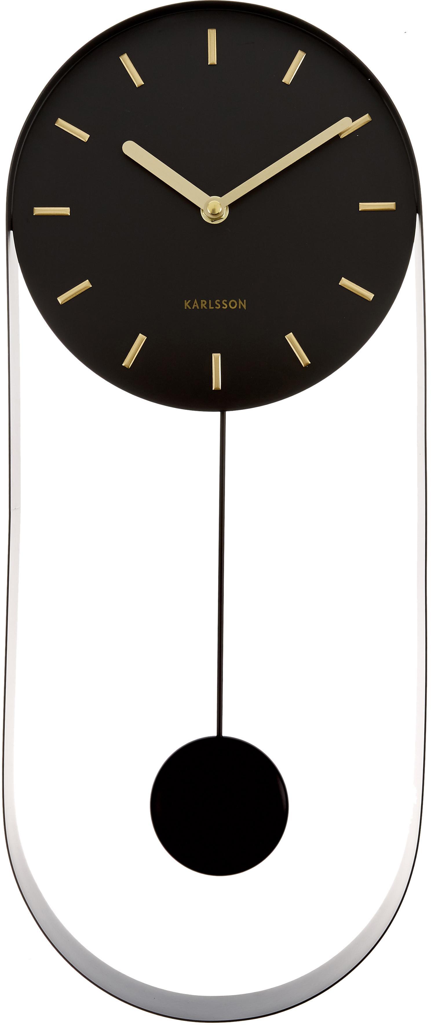 Reloj de pared Charm, Metal recubierto, Negro, dorado, An 20 x Al 50 cm
