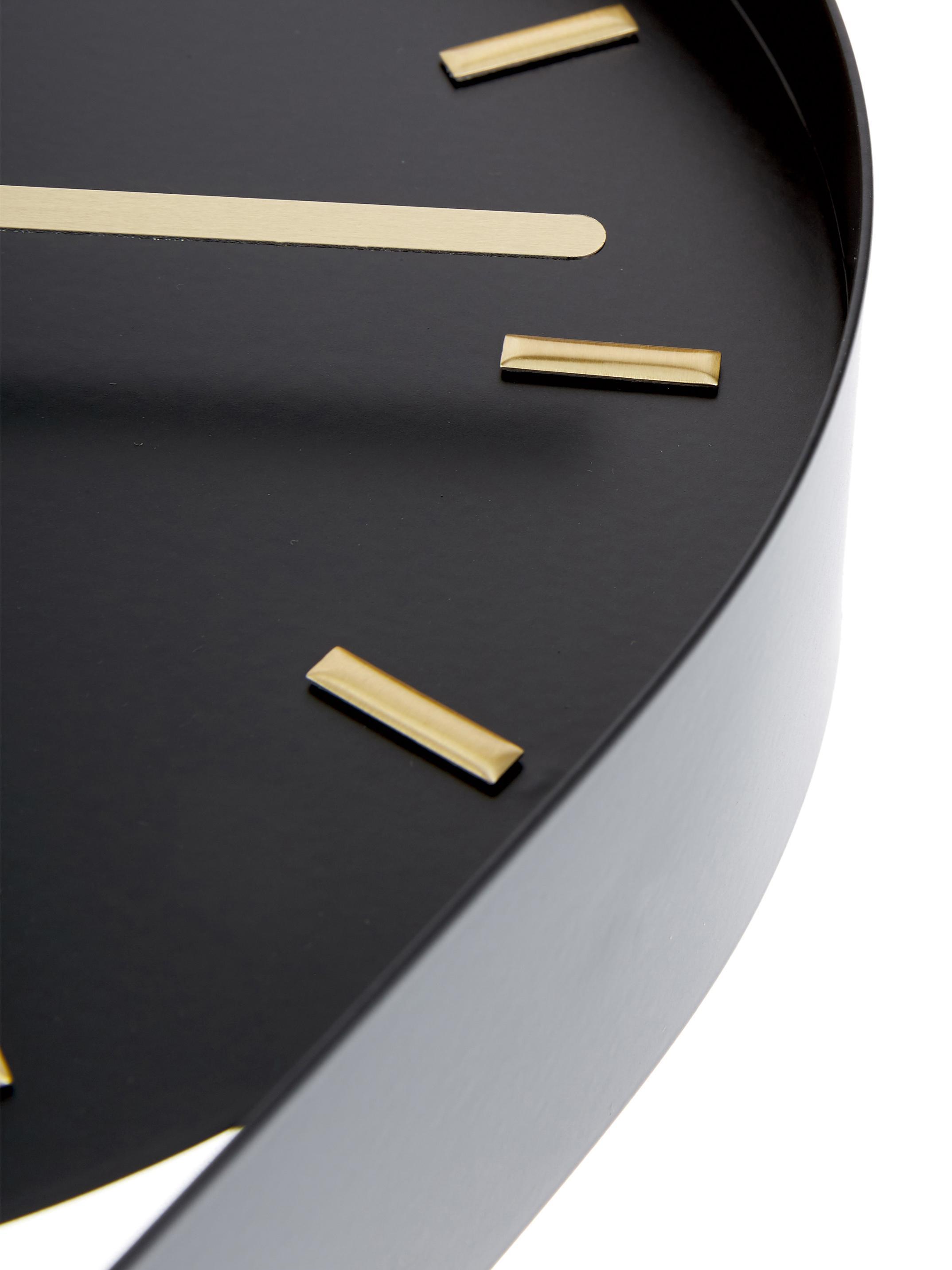 Orologio da parete Charm, Metallo rivestito, Nero, dorato, Larg. 20 x Alt. 50 cm