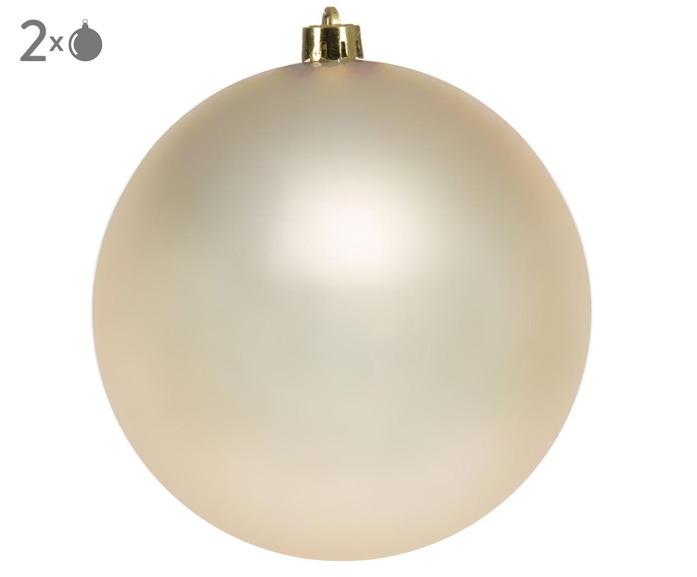 Palla di Natale Minstix, 2 pz., Materiale sintetico, Beige, Ø 14 cm