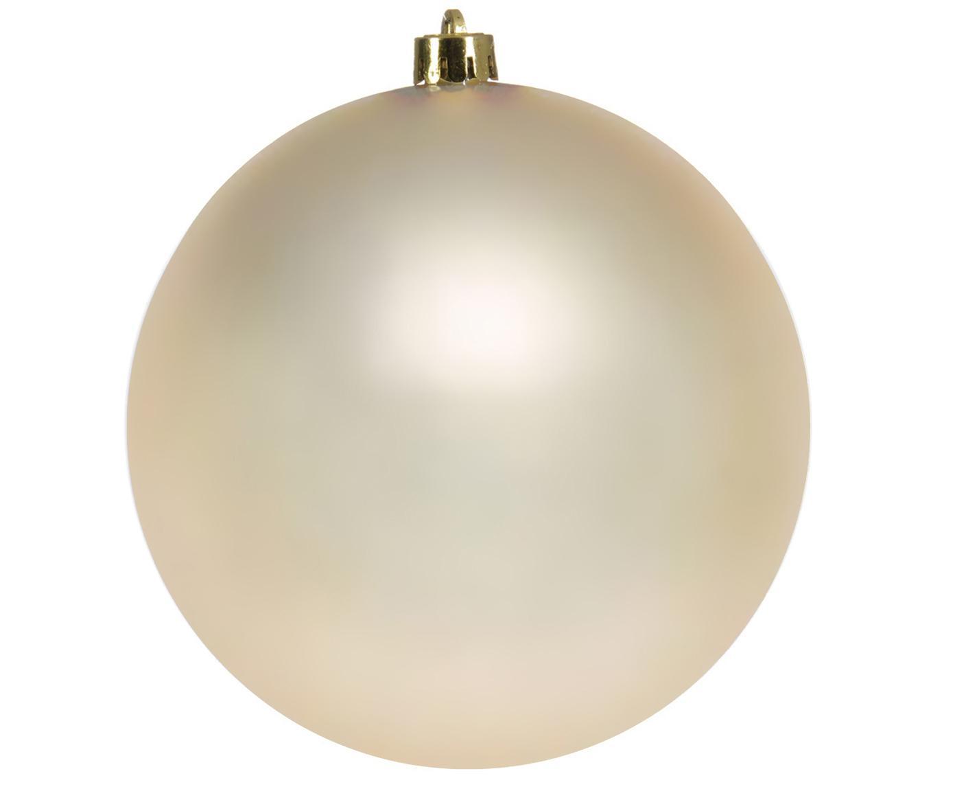 Kerstballen Minstix, 2 stuks, Kunststof, Beige, Ø 14 cm