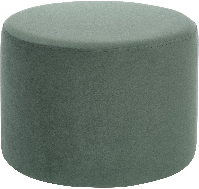 Pouf in velluto Daisy, Rivestimento: velluto (poliestere) 25.0, Struttura: compensato, Verde chiaro, Ø 54 x Alt. 40 cm