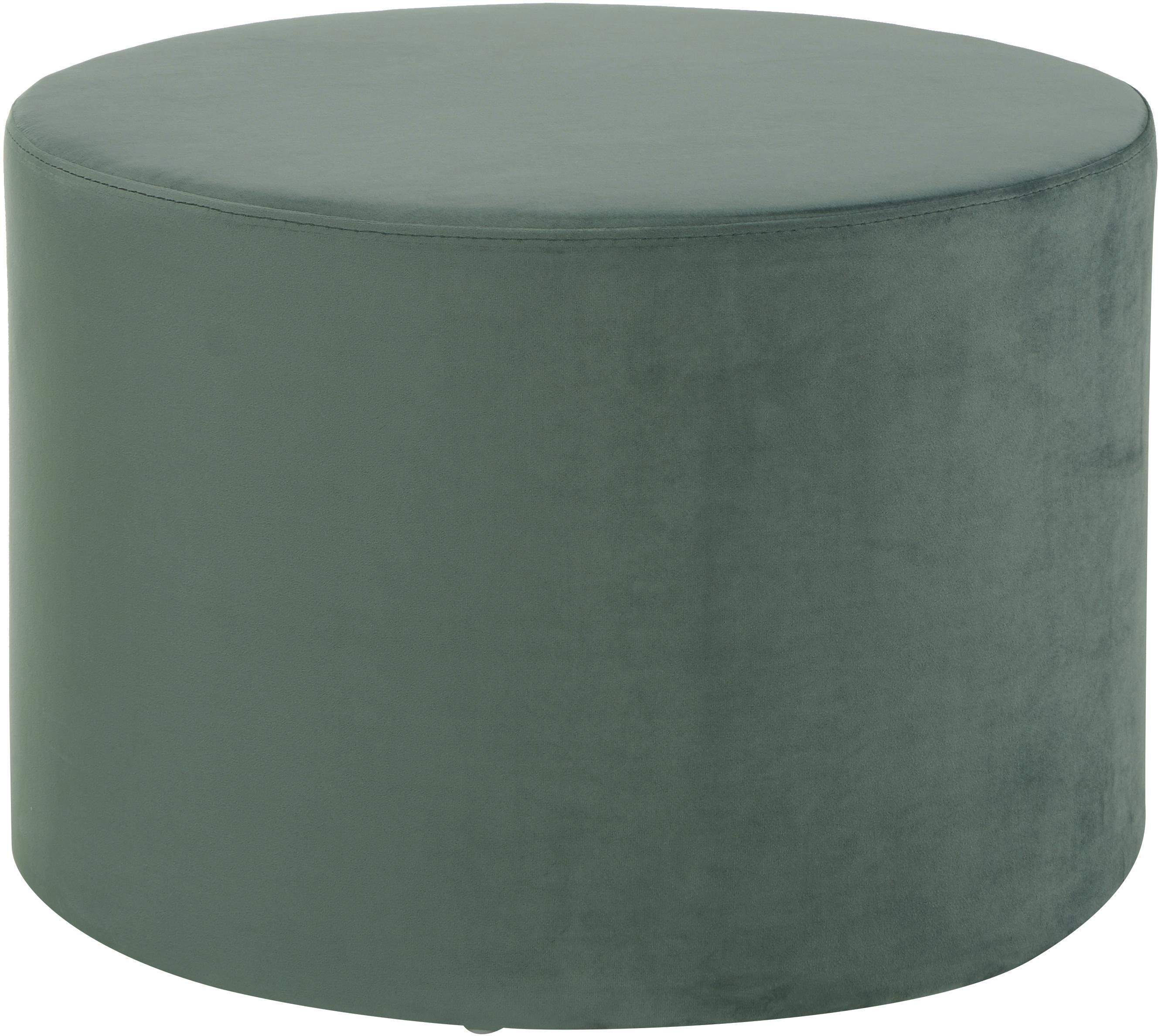 Puf z aksamitu Daisy, Tapicerka: aksamit (poliester) Tkani, Jasny zielony, ∅ 54 x W 40 cm
