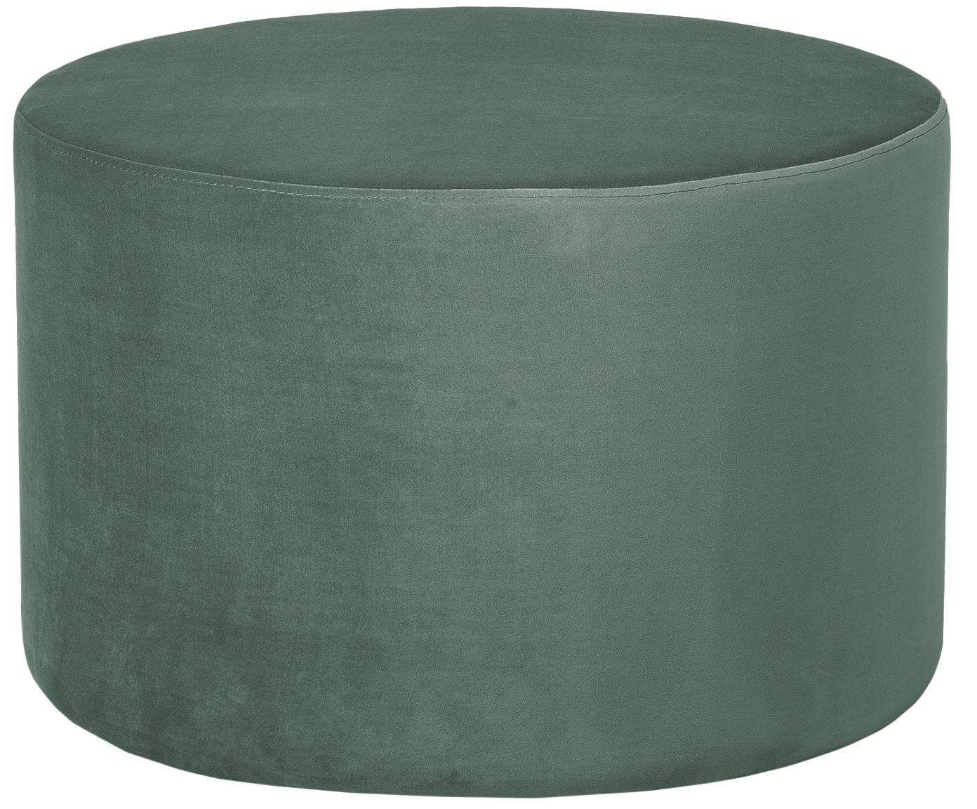 Pouf in velluto Daisy, Rivestimento: velluto (poliestere), Struttura: fibra a media densità, Verde chiaro, Ø 62 x Alt. 41 cm