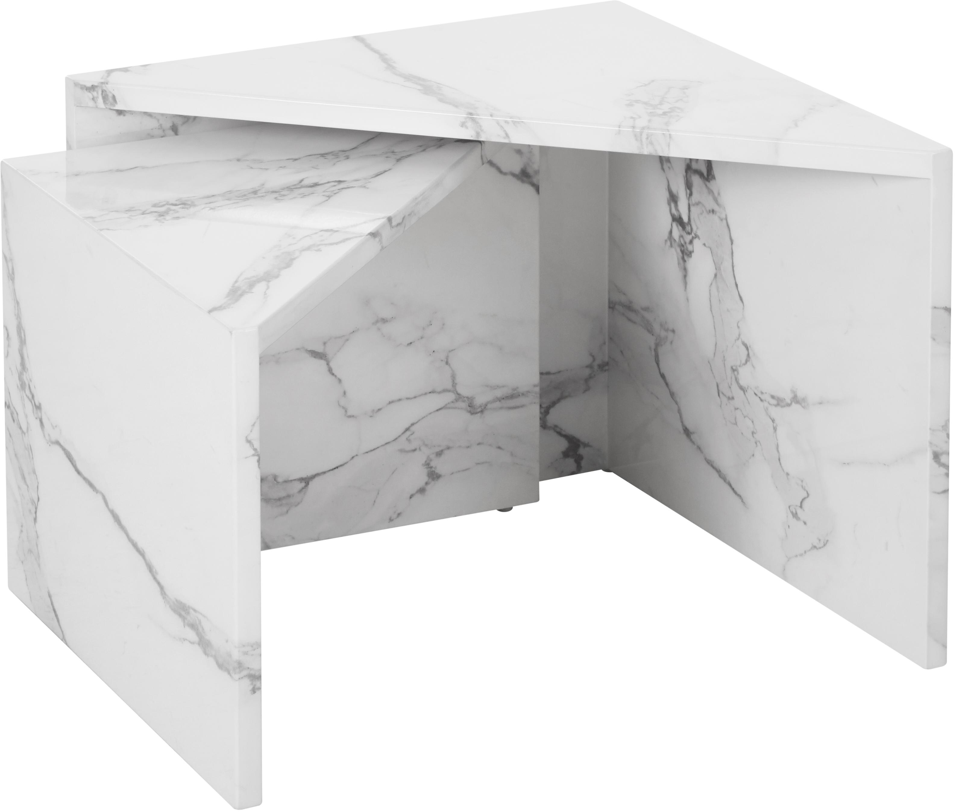 Set de mesas de centro en aspecto mármol Vilma, 2pzas., Tablero de fibras de densidad media (MDF), cubierto en papel con estampado de mármol lacado, Mármol blanco brillante, Set de diferentes tamaños