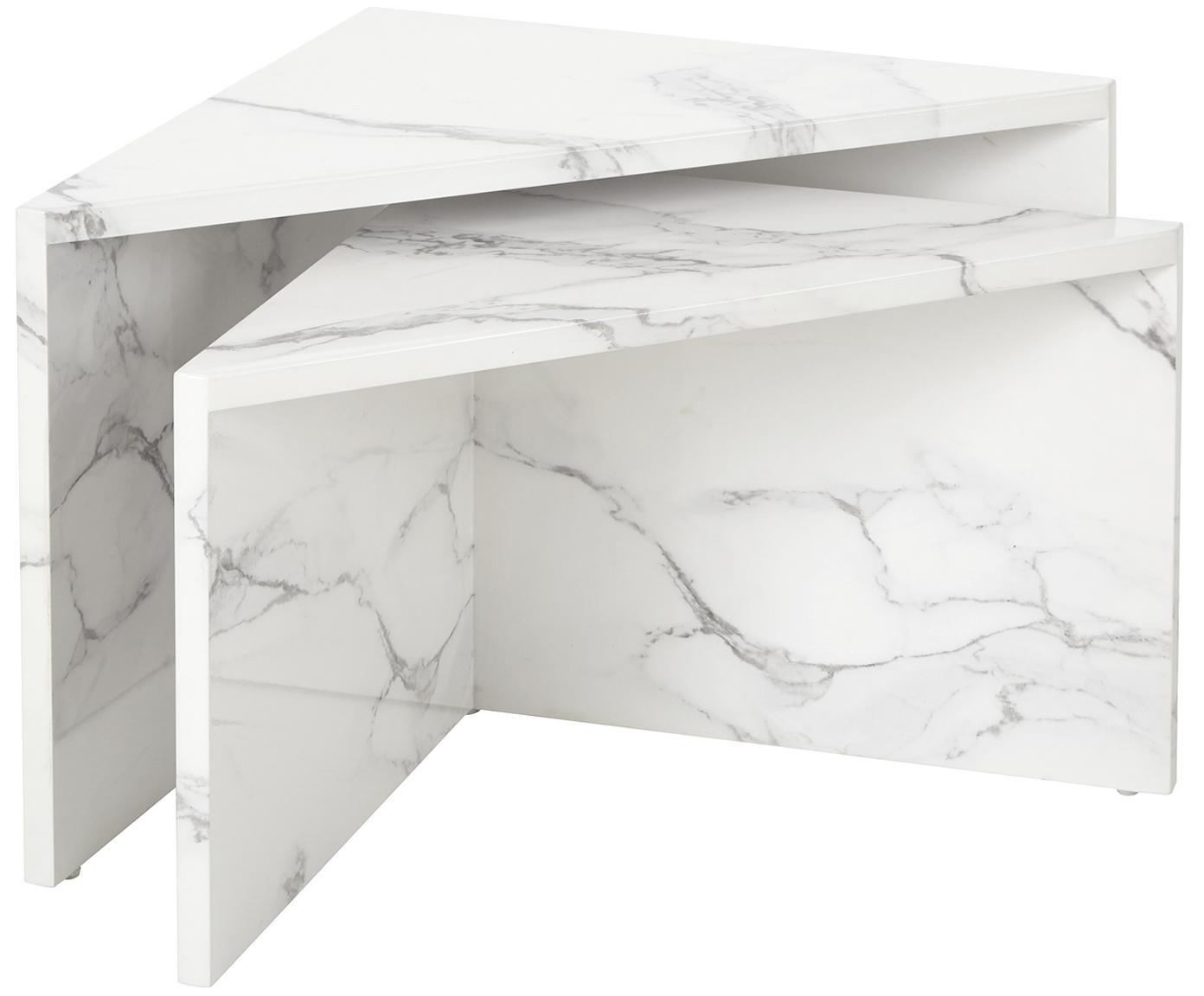 Set de mesas de centro en aspecto mármol Vilma, 2pzas., Tablero de fibras de densidad media (MDF), cubierto en papel con estampado de mármol lacado, Mármol blanco brillante, Tamaños diferentes