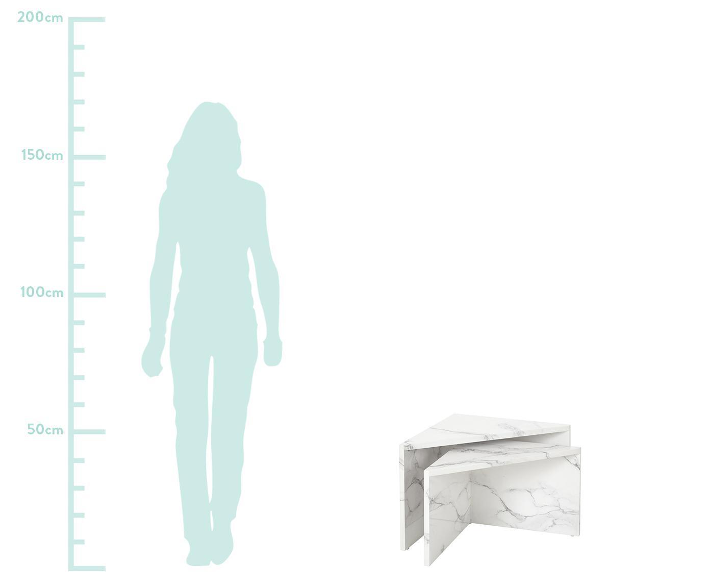 Set 2 tavolini da salotto effetto marmo Vilma, Pannello di fibre a media densità (MDF) rivestito con carta effetto marmo laccata, Bianco marmorizzato lucido, Diverse dimensioni