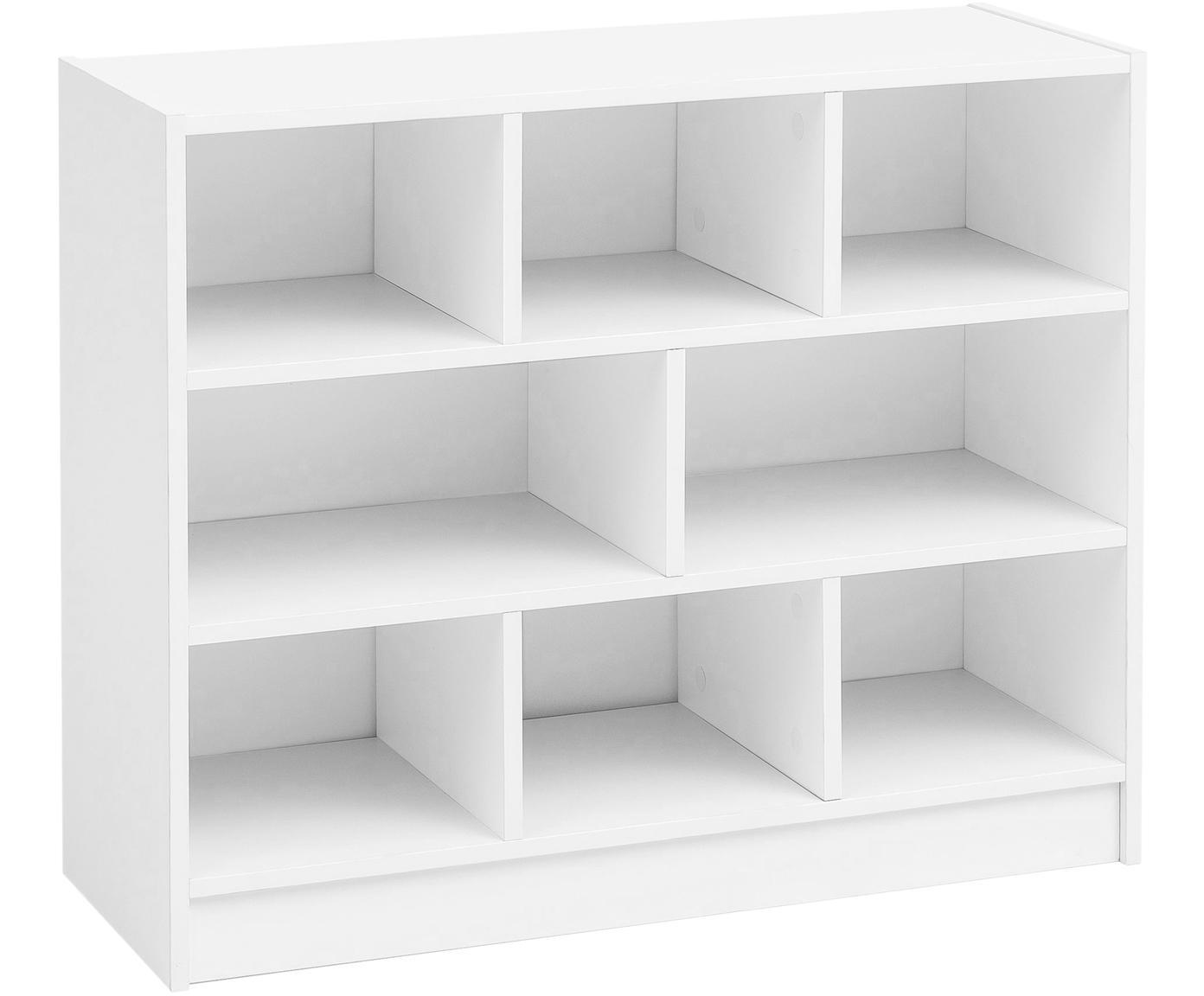 Libreria in bianco opaco Milo, Ripiano: truciolare, rivestimento , Bianco, Larg. 80 x Alt. 69 cm