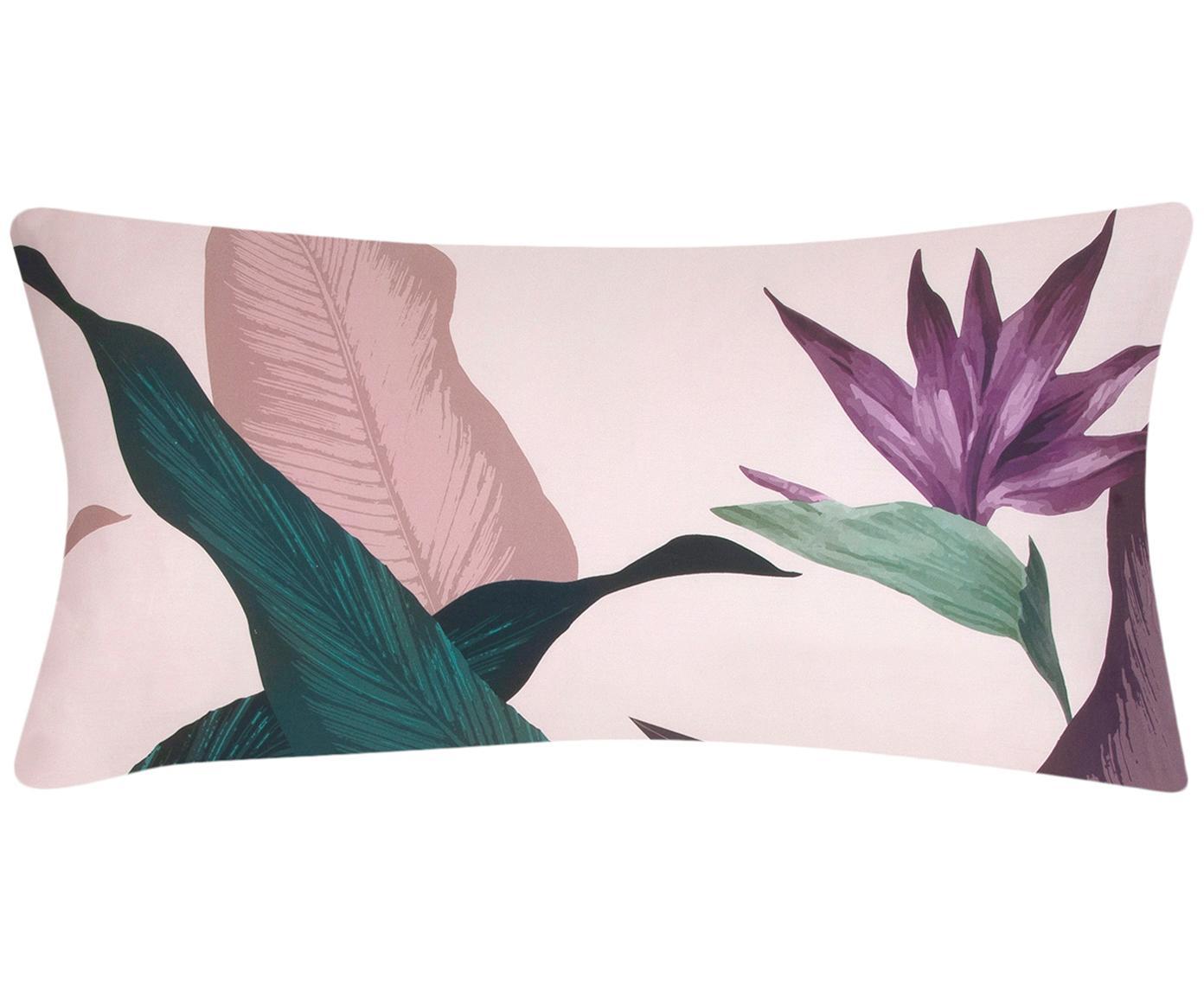 Poszewka na poduszkę z satyny bawełnianej Flora, 2 szt., Przód: wielobarwny Tył: brudny różowy, S 40 x D 80 cm