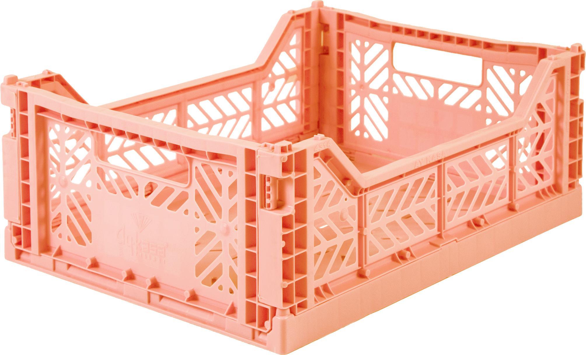 Caja pegable apilable Salmon, mediana, Plástico reciclado, Salmón, An 40 x Al 14 cm