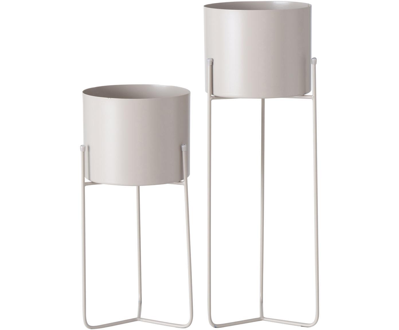 Übertopf-Set Trelli aus Metall, 2-tlg., Metall, pulverbeschichtet, Beige, Set mit verschiedenen Größen
