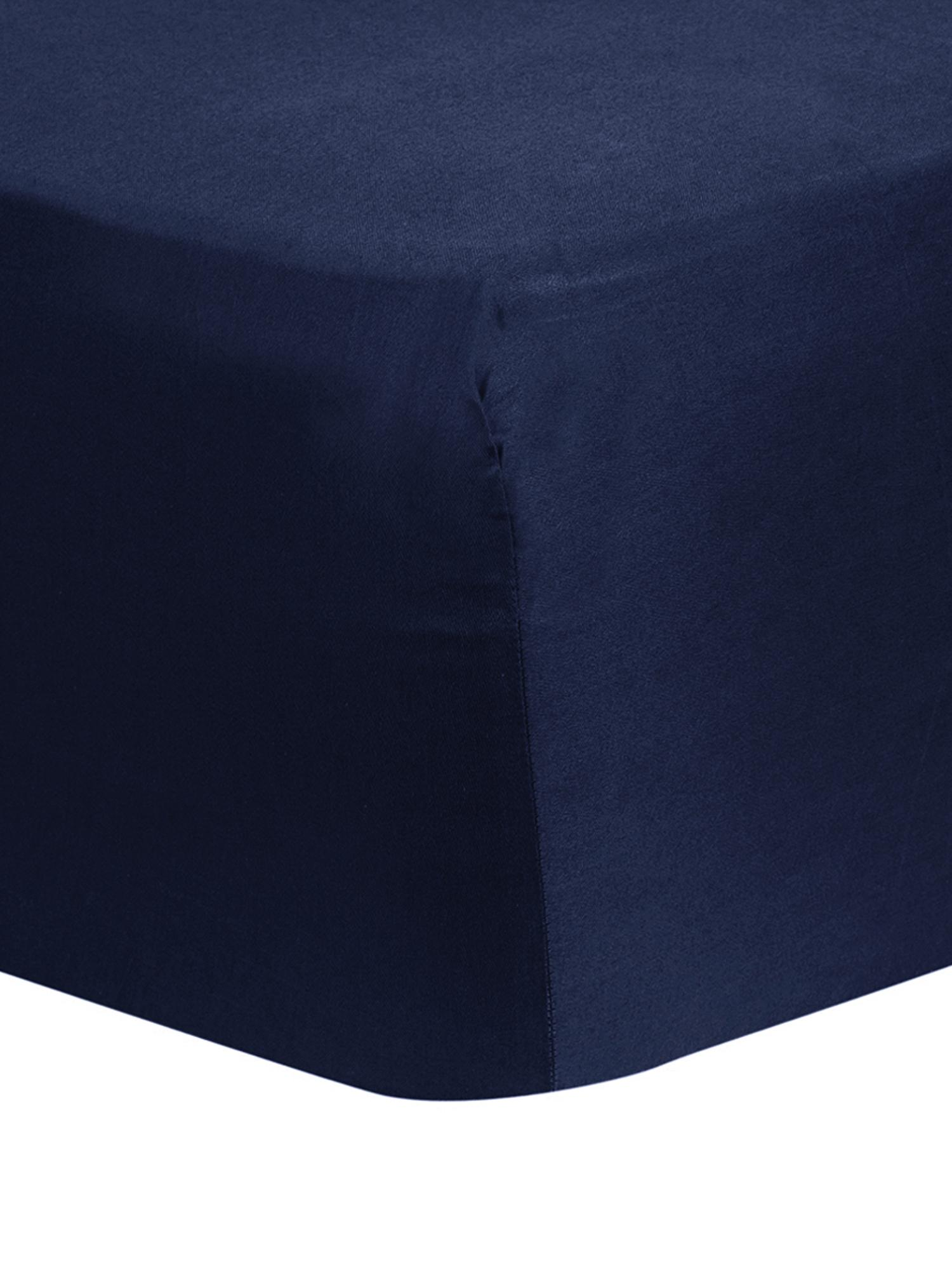 Lenzuolo con angoli in raso di cotone Comfort, Blu scuro, Larg. 90 x Lung. 200 cm