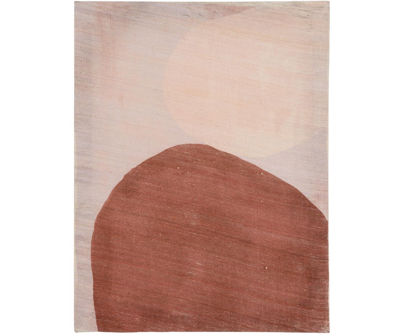 Handbeschilderde canvasdoek Two Dots, Khadi zijde, Bruin, beigetinten, 50 x 65 cm
