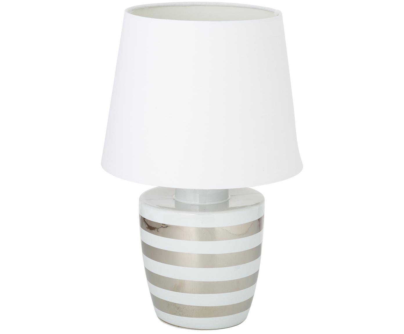 Keramik-Tischleuchte Sylvia, Lampenschirm: Textil, Lampenfuß: Keramik, Weiß, Silberfarben, Ø 25 x H 39 cm