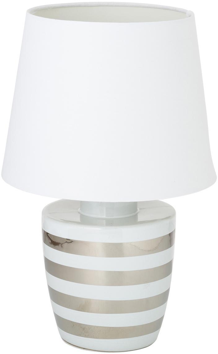 Keramik-Tischlampe Sylvia, Lampenschirm: Textil, Weiss, Silberfarben, Ø 25 x H 39 cm