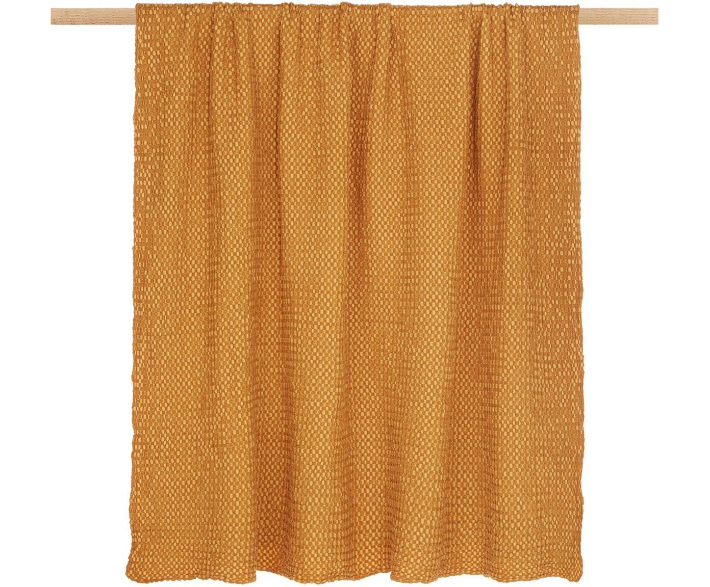 Plaid in cotone giallo dorato Vigo, 100% cotone, Giallo dorato, Larg. 140 x Lung. 200 cm