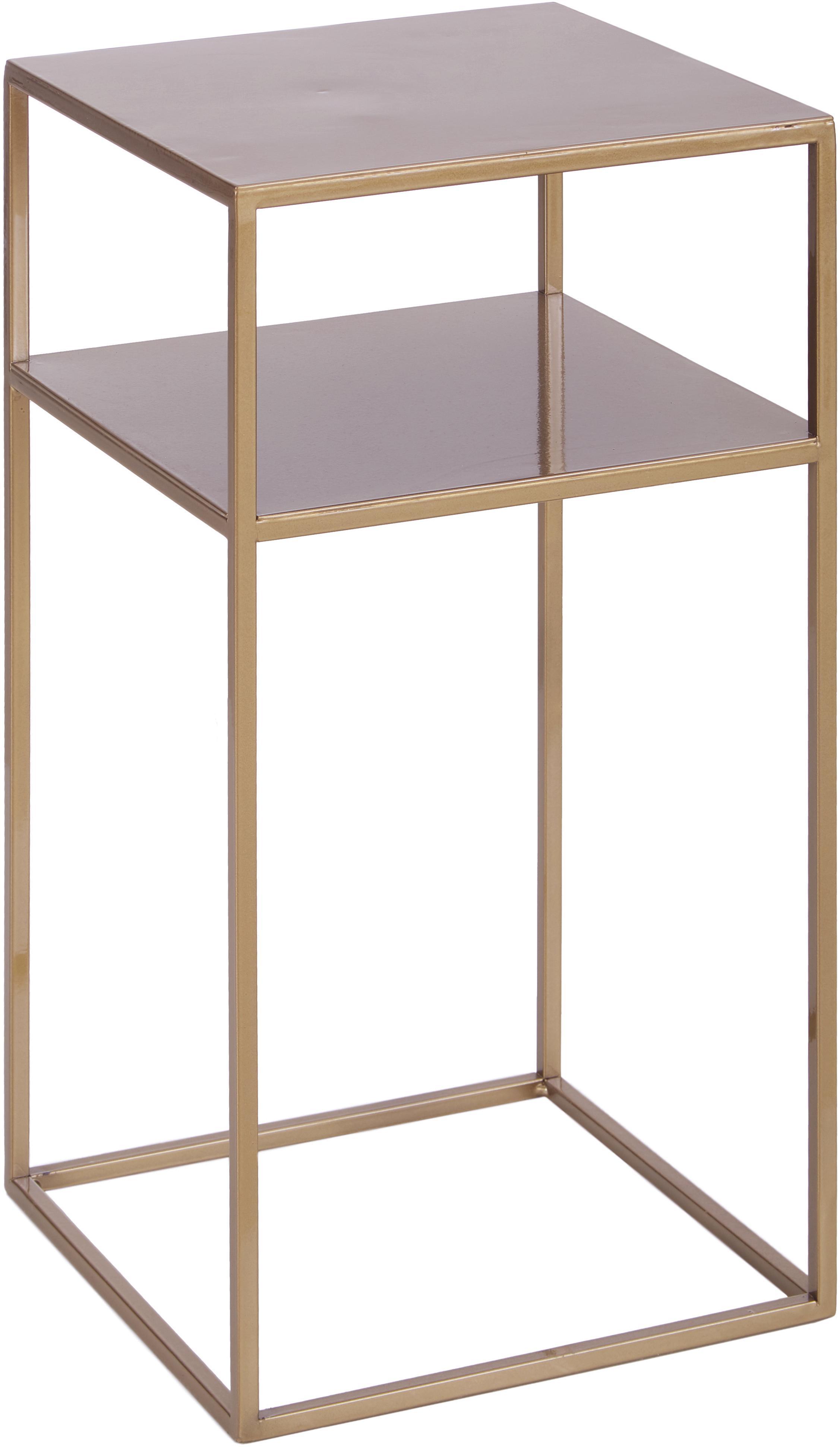 Tavolino con piano d'appoggio in metallo Tensio Oli, Metallo verniciato a polvere, Ottonato, Larg. 30 x Prof. 30 cm
