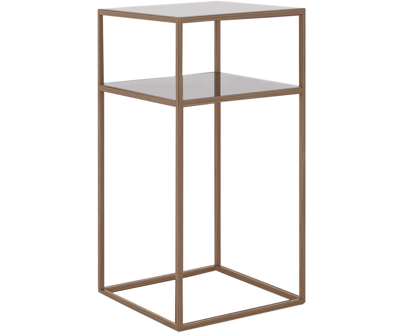 Stolik pomocniczy z metalu Tensio Oli, Metal malowany proszkowo, Odcienie mosiądzu, S 30 x G 30 cm