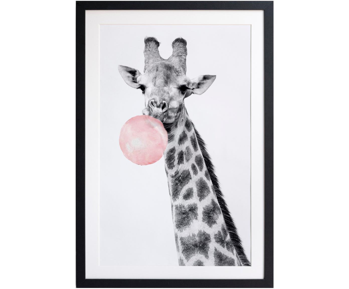Gerahmter Digitaldruck Giraffe, Bild: Digitaldruck auf Papier, Rahmen: Holz, lackiert, Front: Kunststoff, matt, Schwarz, Weiß, Rosa, 40 x 60 cm