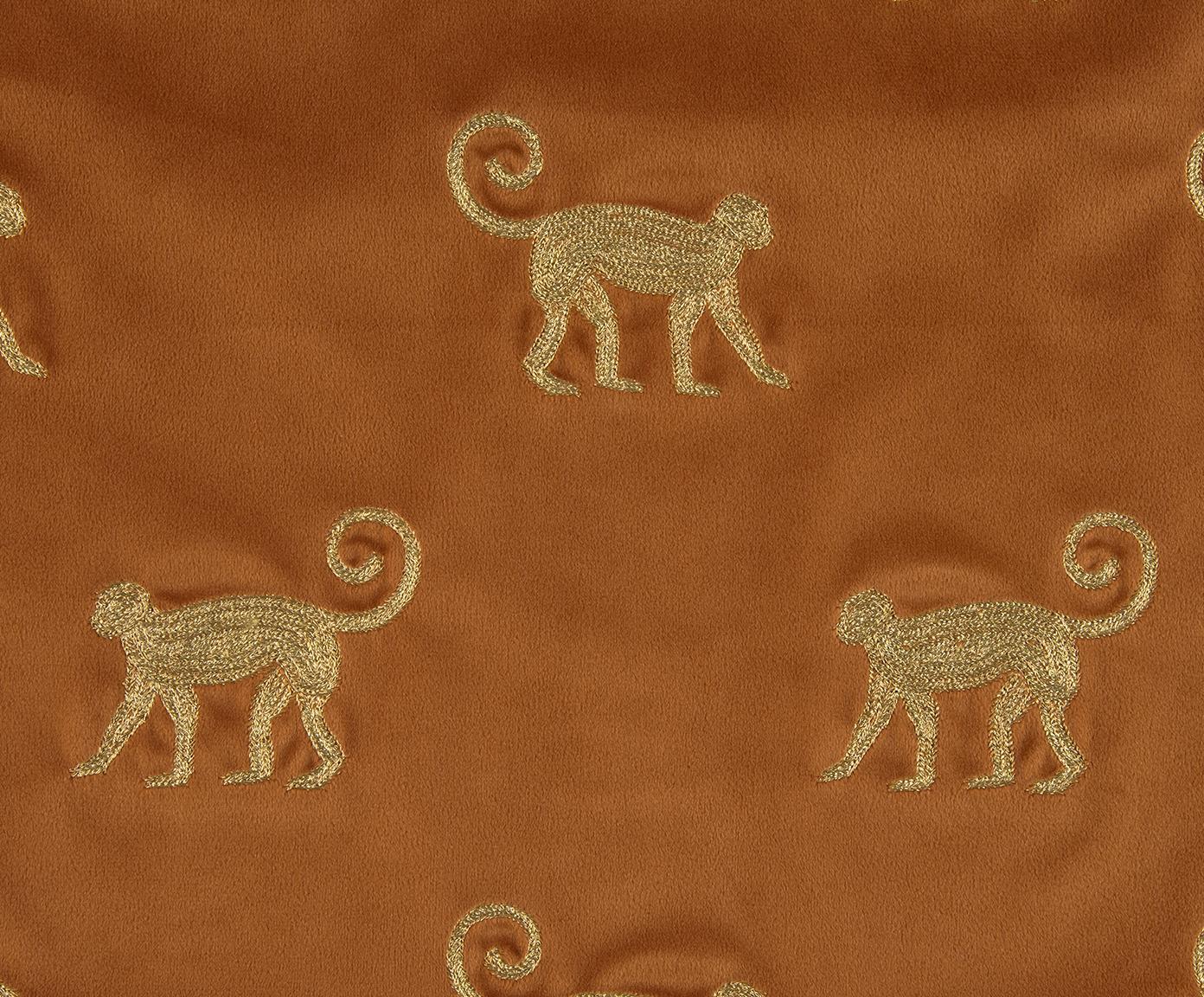 Haftowana poszewka na poduszkę z aksamitu Legong, Aksamit poliestrowy, Pomarańczowy, odcienie złotego, S 40 x D 40 cm