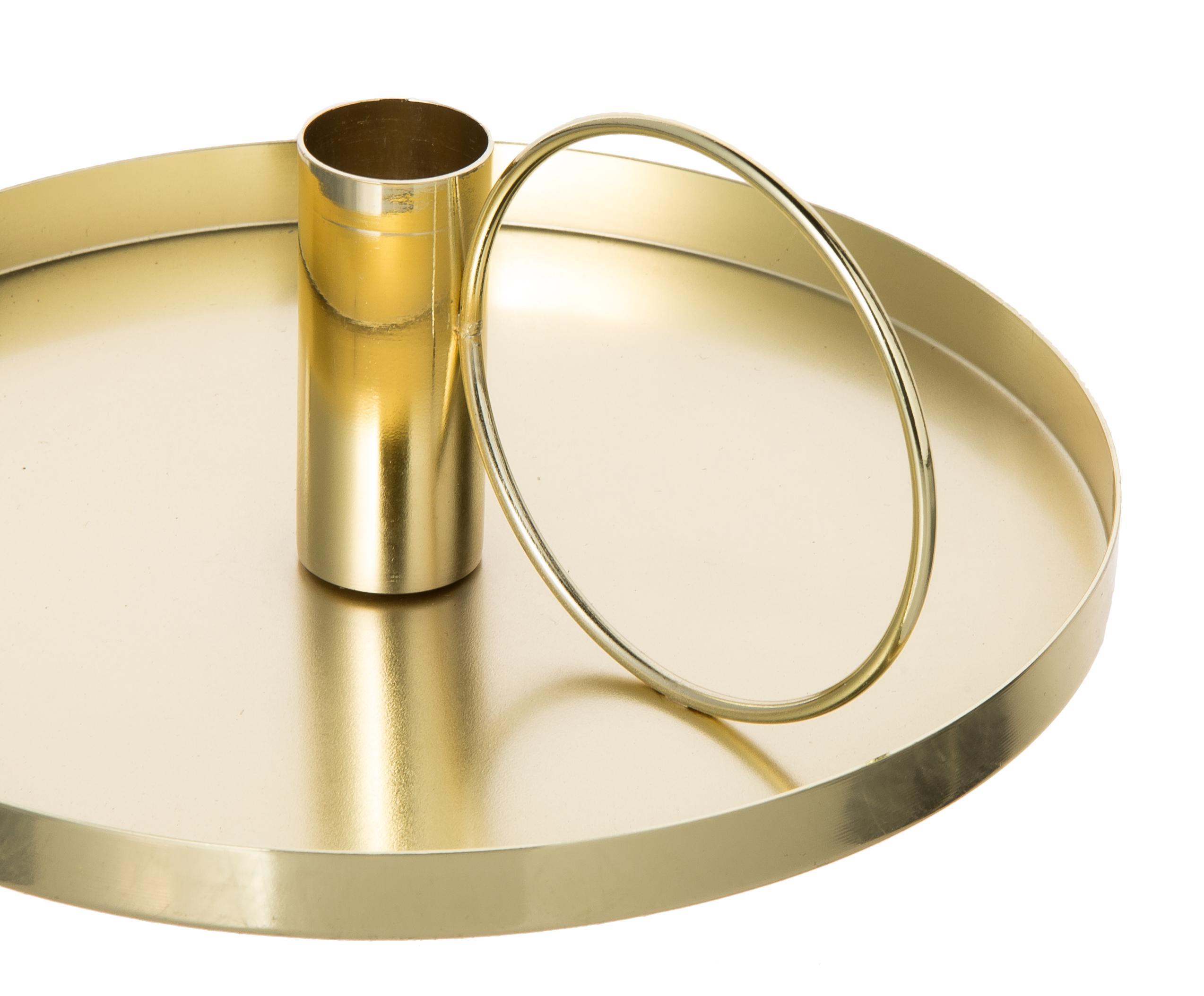Candelabro oro, Metal, Dorado, Ø 19 x Al 8 cm