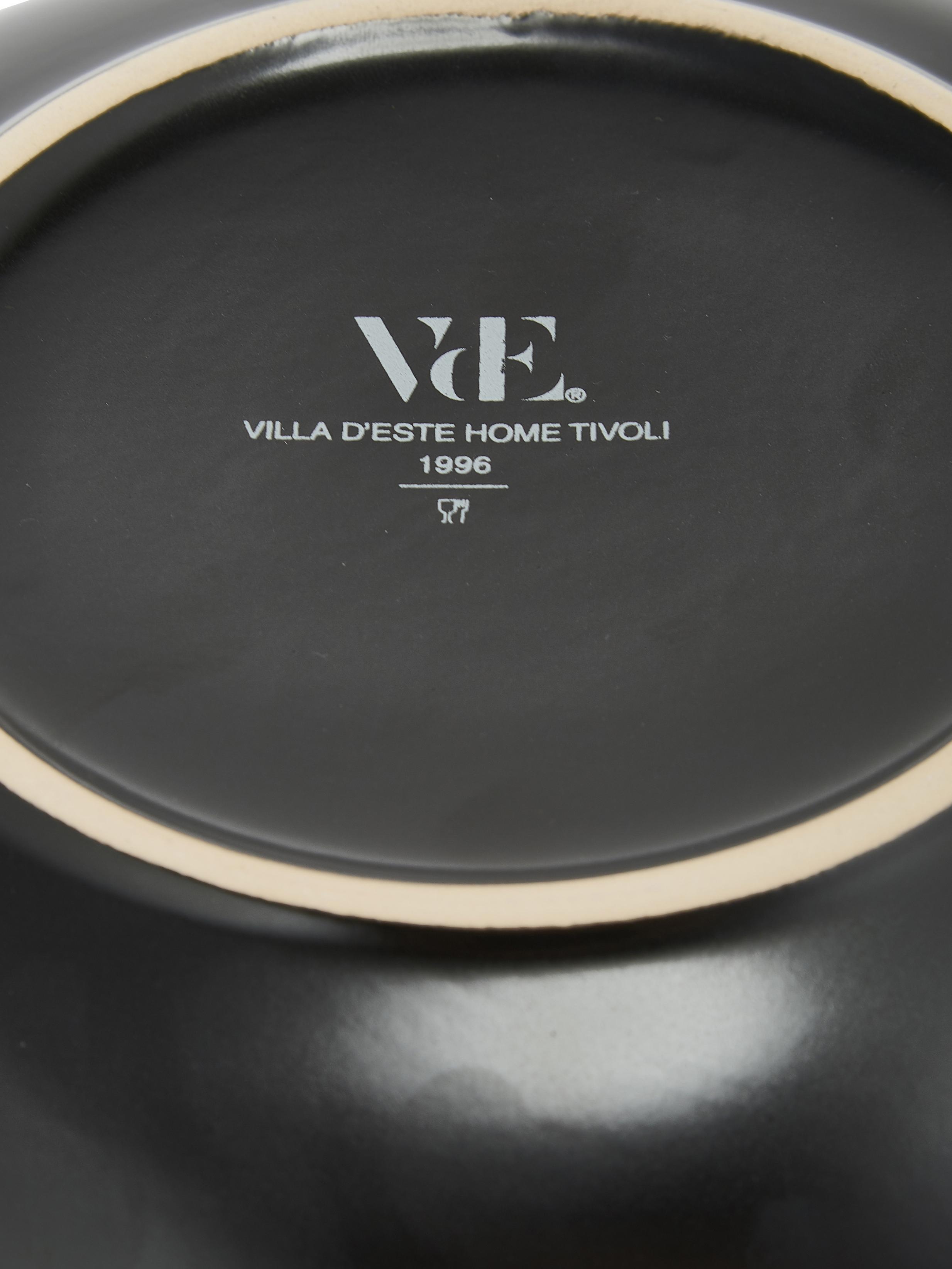 Service de table noir avec bordure dorée Naima, pour 6 personnes (18élém.), Noir, couleur or