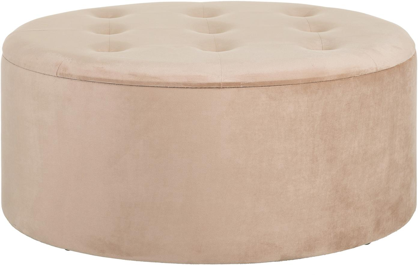 Pouf contenitore in velluto Bina, Rivestimento: poliestere (velluto), Beige, Ø 90 x Alt. 40 cm