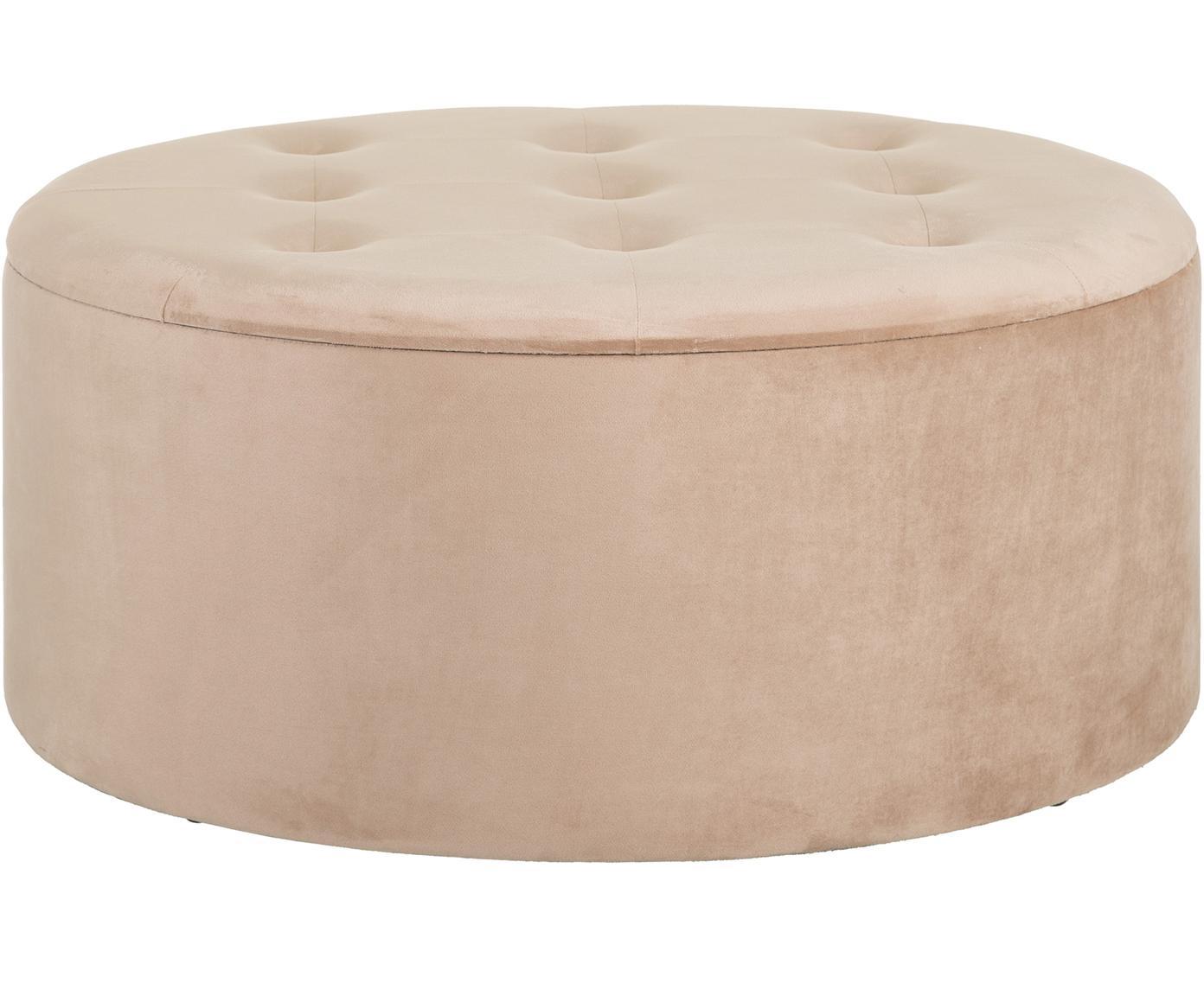 Taburete de terciopelo Bina, con espacio de almacenamiento, Tapizado: poliéster (terciopelo), Estructura: madera, Beige, Ø 90 x Al 40 cm