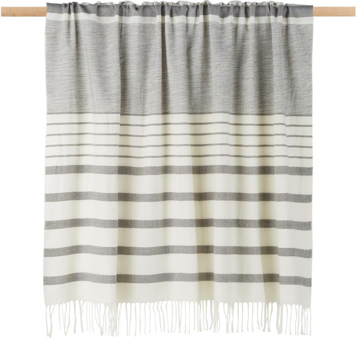 Plaid Hamam, 100% Acryl, Grau, Weiß, 130 x 170 cm