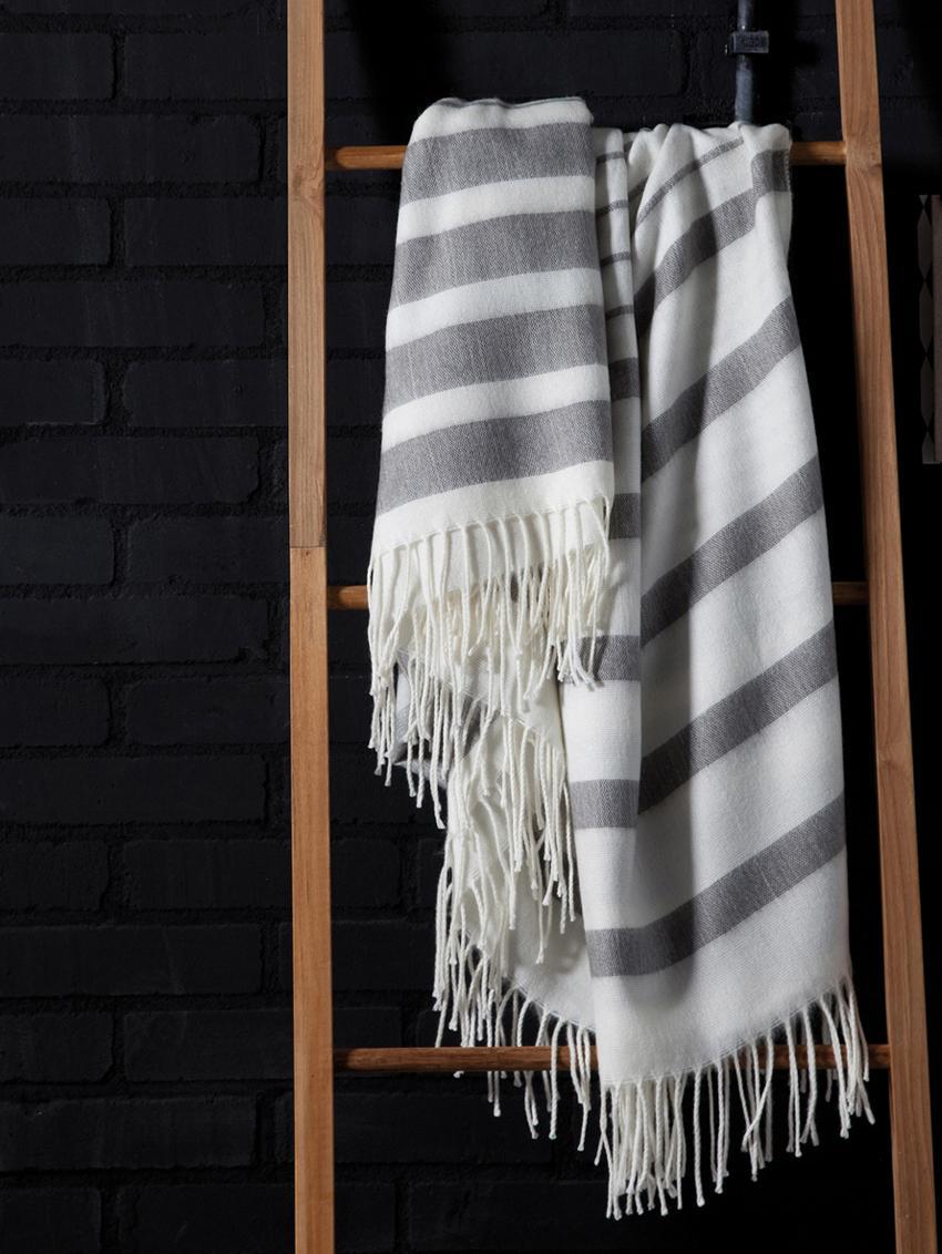 Plaid Hamam, Acryl, Grijs, wit, 130 x 170 cm