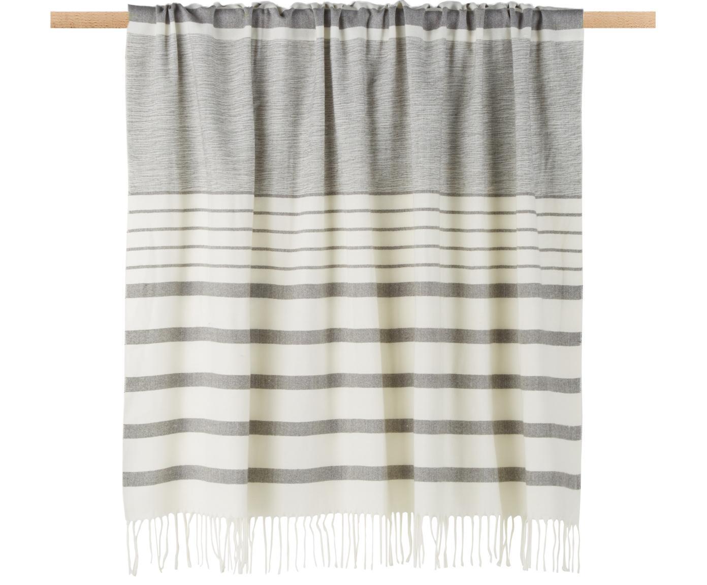 Plaid Hamam, 100% Acryl, Grau, Weiss, 130 x 170 cm