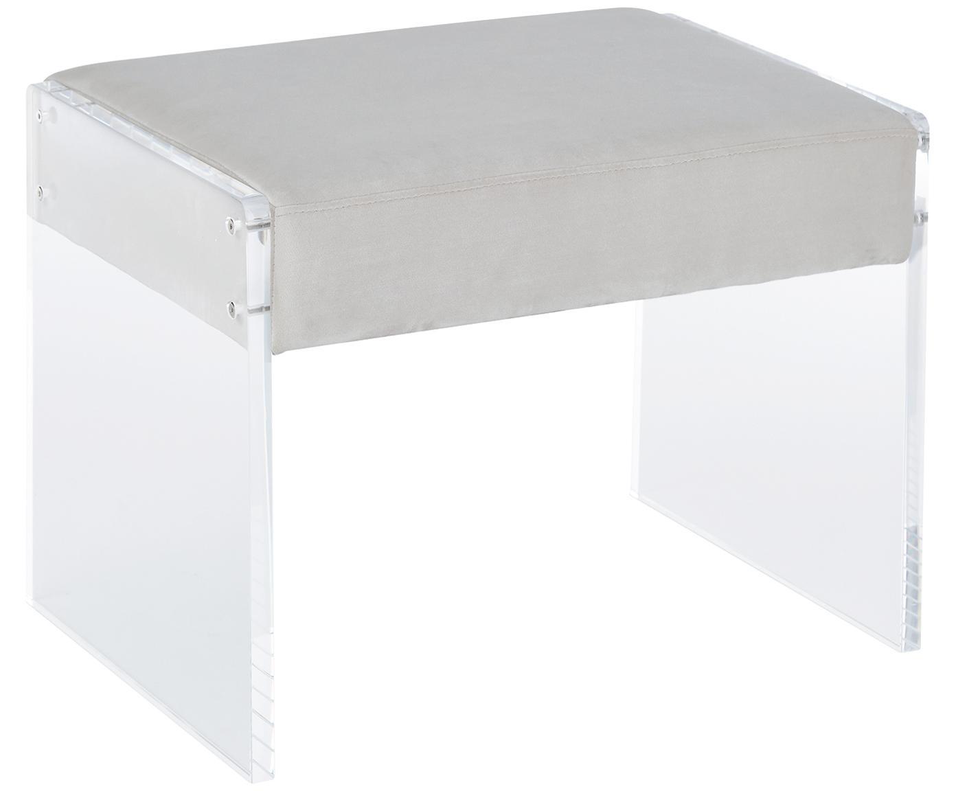 Fluwelen kruk Ayden, Bekleding: fluweel (polyester), Frame: massief populierenhout, m, Poten: acrylglas, Bekleding: lichtgrijs. Frame: transparant, 61 x 45 cm
