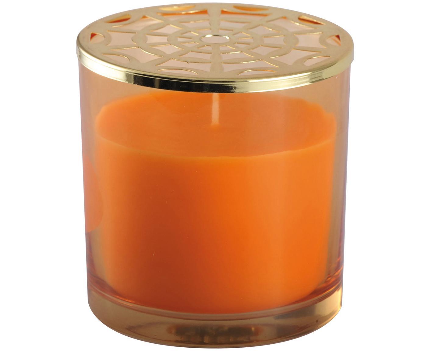 Candela profumata Narana (arancione), Contenitore: vetro, Coperchio: metallo, Dorato, arancione, Ø 10 x Alt. 10 cm