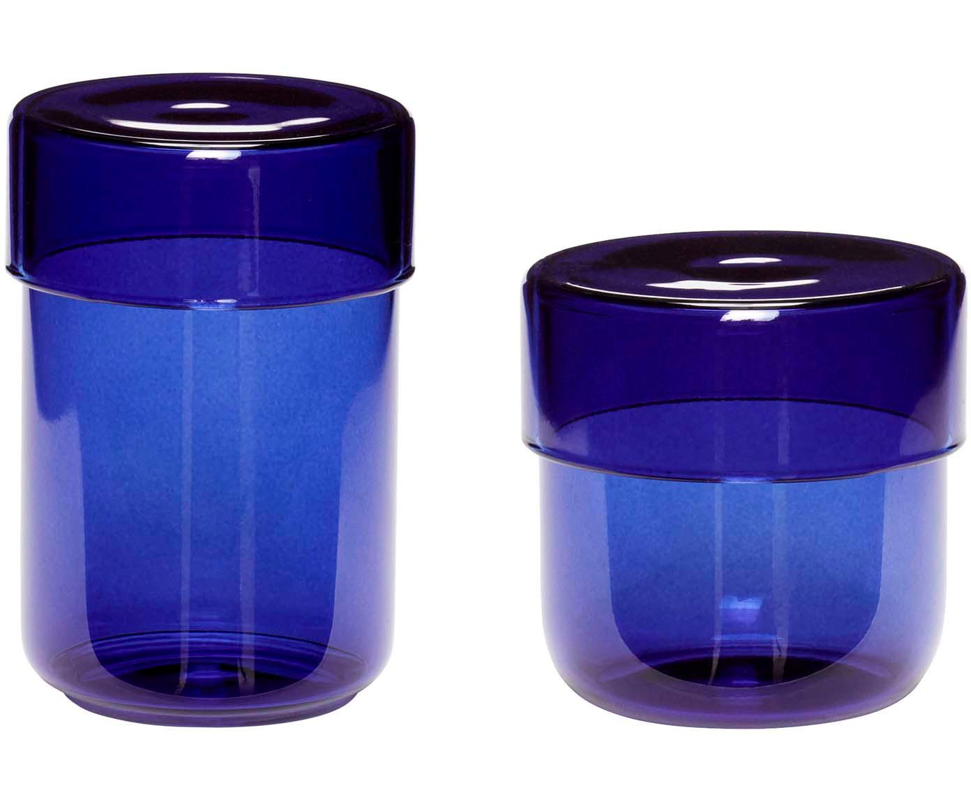 Set 2 contenitori in vetro Transisto, Vetro, Blu, Set contenitori S